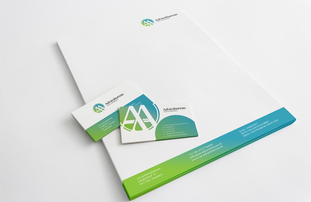 Logo en huisstijl ontwerp voor AA-adviesbureau