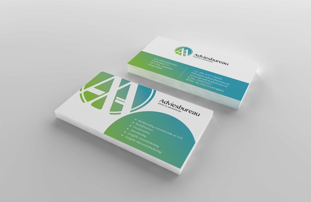 Visitekaartje en huisstijl ontwerp voor AA-adviesbureau