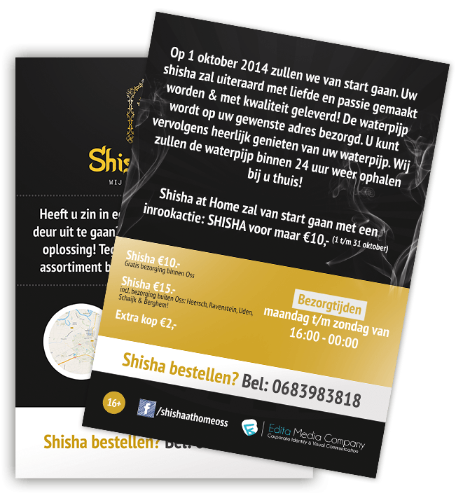 Flyer laten ontwerpen - Professionele flyer - Shisha at Home